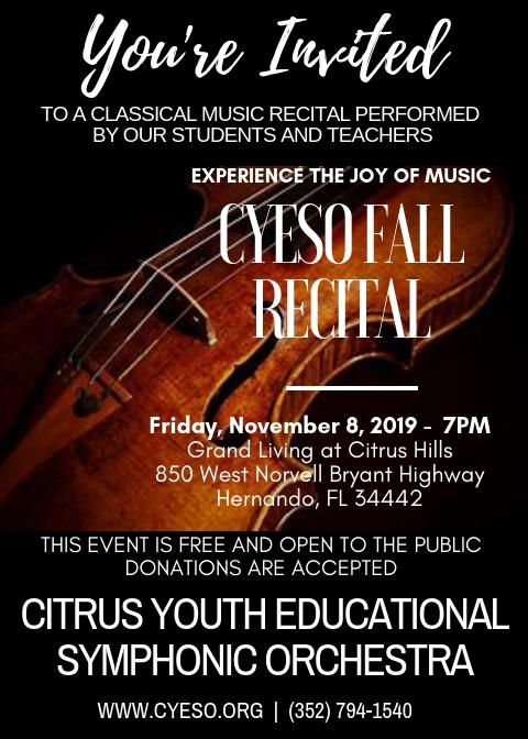 flyer for Fall Recital at Grand Living November 8th at 7pm
