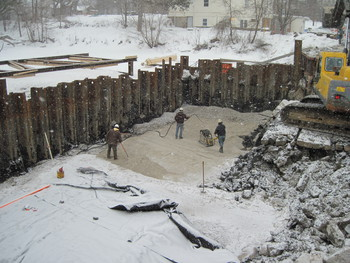 Dam excavation and backfill